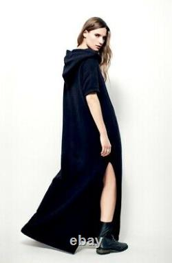 Free People Beach Maxi Dress Ocean Ave Hood Nubby Oversized Washed Black XS NEW