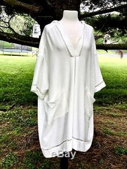 Free People Dress Sweatshirt Hooded Textured Lace Trimmed Wide Ivory L New