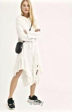 Free People Midi Dress Tunic Hooded Sweatshirt Ruffle Hi Lo Hem White L NEW