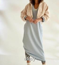 Free People Movement Maxi SweatShirt Dress Hooded Sun Salutation Blue L NEW