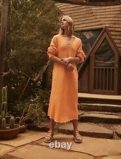Free People Movement Maxi Sweatshirt Hoodie Sun Salutation Oversize Orange XSNWT
