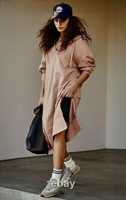 Free People Movement Spur Of Moment Maxi Sweatshirt Dress Hoodie Tan Pink L NWT
