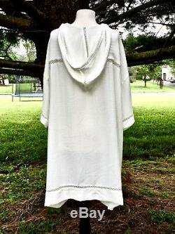 Free People Oversize Dress Hooded Textured Lace Trimmed Wide Tunic Ivory L New