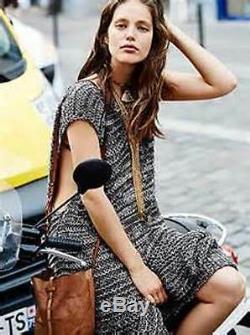 Free People S Bali Beach Dress Hooded Sweater Knit Crochet Black Vest Gray Maxi