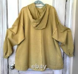 Free People Sweatshirt Dress Hoodie Tunic Swing Oversized Gold Brown XS/ S NWT