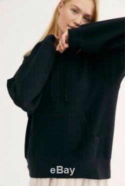 Free People Sweatshirt Maxi Dress Hood Black White Pullover Gauze Midi XS NEW