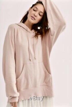 Free People Sweatshirt Maxi Dress Hood Pink White Pullover Gauze Midi L NEW