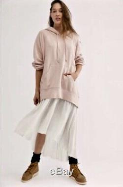 Free People Sweatshirt Maxi Dress Hood Pink White Pullover Gauze Midi L NWT