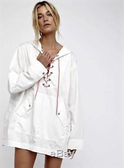 Free People White Hooded Pink Lace Up Popling Tunic Top Jacket XS/S M/L NWT