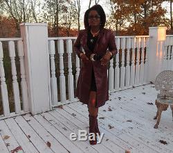 Full Length Designer hooded Burgundy leather dress Trench coat jacket Xs-S 0-4
