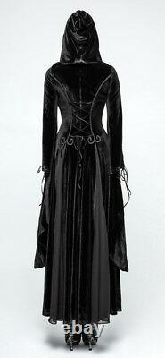 Full lenght Velvet Hooded Coat Dress Gothic Lolita Dark Witch mitten PunkRave