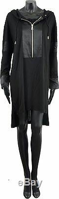 GIVENCHY 1550$ Authentic New Black Silk Blend Hooded Sweater Dress sz 34