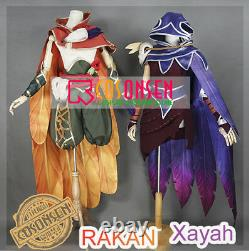 Game LOL League of Legen Xayah Red Dress Hooded Cloak Cosplay Costume Full Set