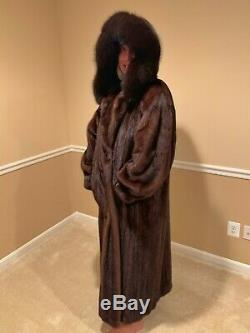 Gorgeous Genuine Mink Brown Sable Fur Full Length Coat With Hood Womens Size L