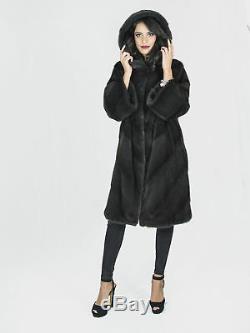 Gray hooded mink coat aurora pelliccia visone Pelz Nerz fourrure