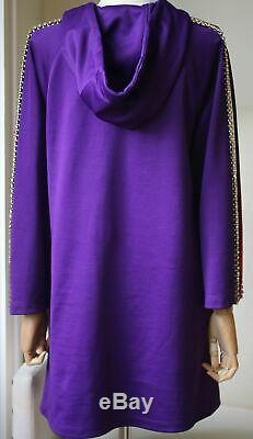 Gucci Crystal Embellished Jersey Hooded Dress Xsmall