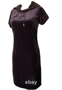Gucci Velvet Hooded Purple Stretch Dress Size XS