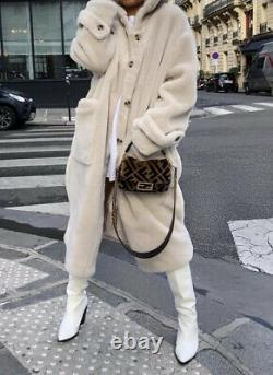 H&M Faux Fur Hooded Oversized Cream Coat Bloggers Fave Sold Out Uk M 12 14 16