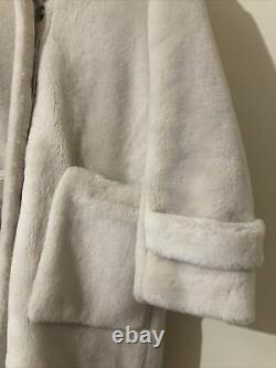 H&M Faux Fur Hooded Oversized Cream Coat Bloggers Fave Sold Out Uk XS 6 8 10 12