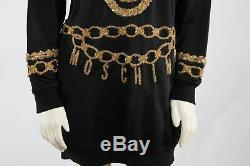 H&M MOSCHINO Black Sparkly Jersey Gold Chains Hoodie Jeremy Scott Dress Size S