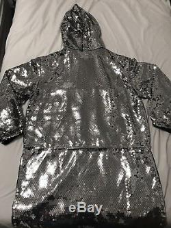 H&M Moschino Authentic Womens XS Silver hooded Sequin Dress NWT NEW Low Price