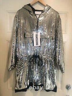 H&M Moschino Sequined Hooded Dress Brand Size M NWT Jeremy Scott Rare Silver
