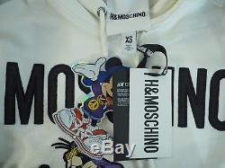 H&M x Moschino Hooded Dress White Sweatshirt Hoodie Disney Size XS Extra Small