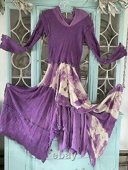 Handmade Purple And White Tie Dye Dress With Hood Art To Wear
