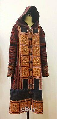 Hmong Cloth Over Long Coat Hooded Unisex Embroidered Unique Vintage Free Size