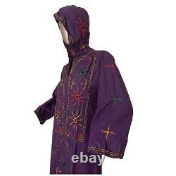 Hooded Dress Vintage Lounge Kaftan Cotton Purple Hand Embroidered Tunic dress M