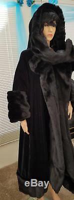 Hooded Gatsby A-line Black Velvet Faux Mink Reversible Opera Coat Maxi Coat