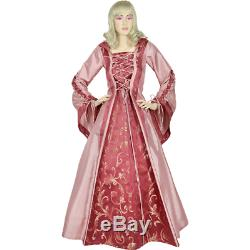 Hooded Renaissance Sorceress Gown Rose and Red