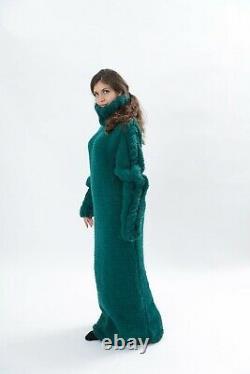 Hoodie green wool dress