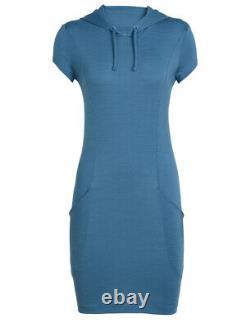 Icebreaker Women Cool Lite Yanni Hooded Dress (S) Thunder