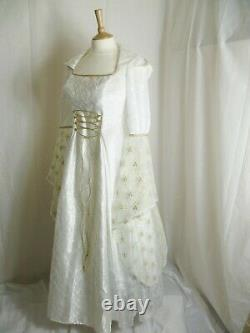 Ivory & Gold Medieval Wedding Dress Renaissance Hooded Gown Custom made to size