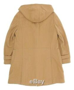 J CREW Wool Coat M Medium Womens Vintage DUFFLE Coat Hooded Toggle TRENCH Jacket