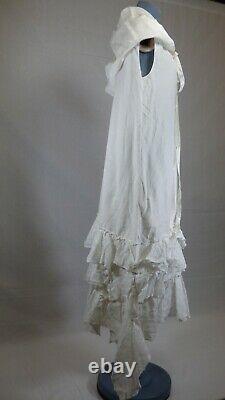 JW Anderson Asymmetric Ruffled Oversized Cotton Lace Unusual Hooded Dress UK 8
