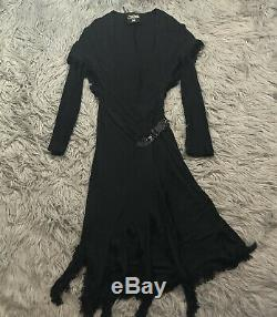 Jean Paul Gaultier JPG Jersey Fringe Tassel Hooded Black Dress Sz 6 Belted Wrap