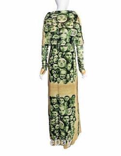 Jean Paul Gaultier Vintage Green Beige Face Print Cowl Hood Mesh Maxi Dress