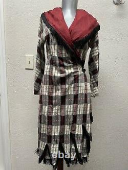 Jean Paul Gaultier fringed hooded ONE OF THE KIND dress wrap around style 42 M