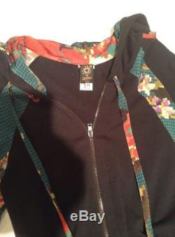 Jean Paul Gautier Soleil Black/Multi Long Sleeve Dress with Hood, size M