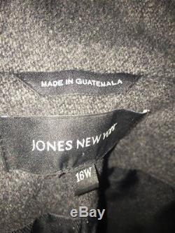 Jones New York Winter Hooded Lined Dress Business Coat Women's Size 16 W