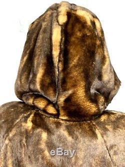Jones New York Womens Swing Jacket Faux Mink Fur Trench Coat Brown Hood Long 2X