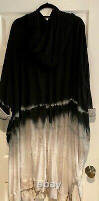 Krista Larson Bode Tie Dyed Black and White Sweatshirt Hooded Dress OS