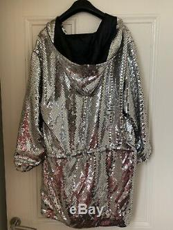 LAST HOURS! H&M X Moschino Silver Hooded Sequin Dress Size M BNWT