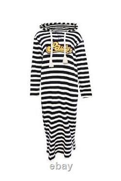 LOEWE Paula's Ibiza hooded appliquéd striped jersey dress size M