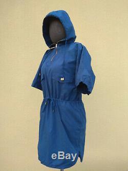 LOUIS VUITTON WOMEN'S SUMMER HOODED DRESS Size 40 / L DARK BLUE LIGHTWEIGHT