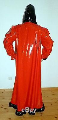Lackkapuzenkleid mit Maske, Maskenkleid, Diva, Unisex, Vinyldress with Hood