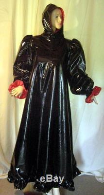 Lackkapuzenkleid mit Maske, Unisex, Crossdresser, Maiddress with Hood, Vinyl