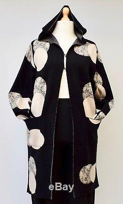 Lagenlookneslayhooded Long Soft Cardigan/jacketblack/beigebust Up To 46